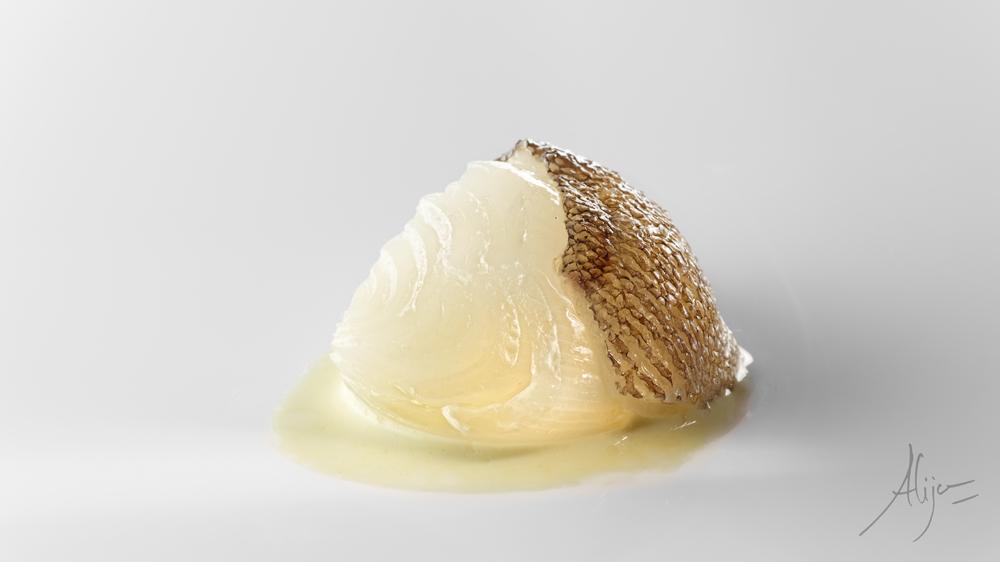 Mijoté d'oignon blanc , fond de morue et poivron vert