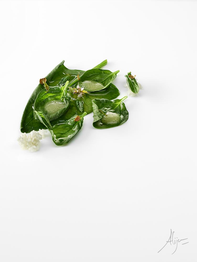 Épinards cuits, lait d'amandes et huile d'olive