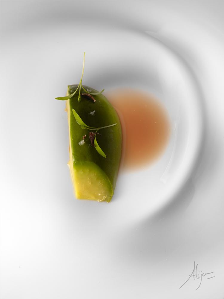 Foie végétal (avocat), concentré d'algue Dulse acidulé et coriandre