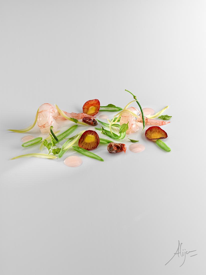 Crevettes, haricots et pêche