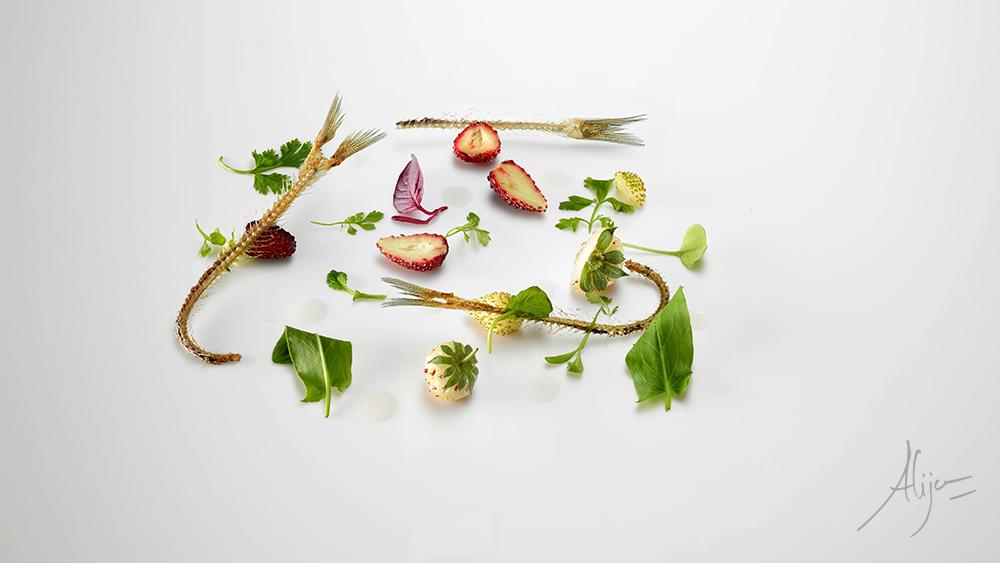 Arêtes d'anchois, herbes acides et piquantes, et fraises