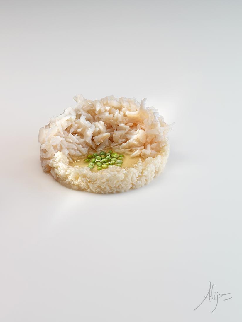 Araignée de mer, choux-fl eurs et jus de maïs grillé