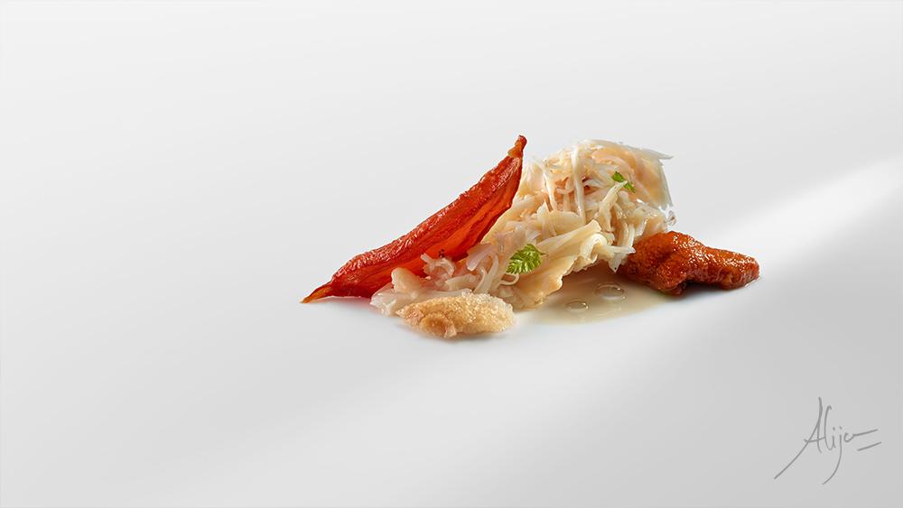 Araignée de mer, oursin de mer, tomate sèchèe à la bière